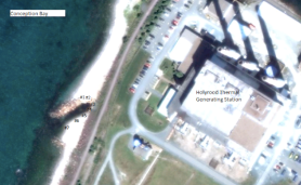 View of Holyrood plant with the location of the outfall and testing areas.