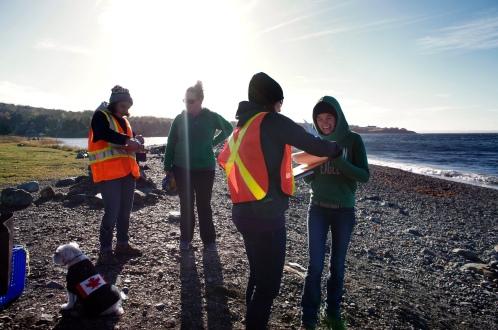 Volunteers being interviewed about their experiences categorizing marine debris.